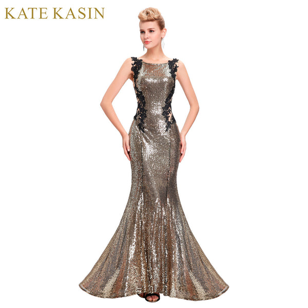 Kate Kasin Mermaid Bridesmaid Dresses Long Dress for Weddings Party Gown 2017 Grey Blue Black Sequin Bridesmaid Dress 0072