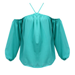 Sexy Off Shoulder Blouse 2017 Fashion Women's Halter Tops Long Sleeve Ladies Shirt Casual Blouse Loose Shirt