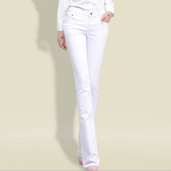 412efad4c7f ... 2017 Spring Woman Black White Jeans Straight Cut Boot Flare Jeans For Women  Push Up Skinny ...