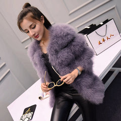 2017 autumn and winter long section of thick round neck Slim thin ostrich hair real Ostrich feather coat Women's winter jacket