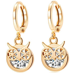 SUSENSTONE Star love earrings earrings Alloy Rhinestone Women Dangle Earring Star Earrings Eardrop Hoops