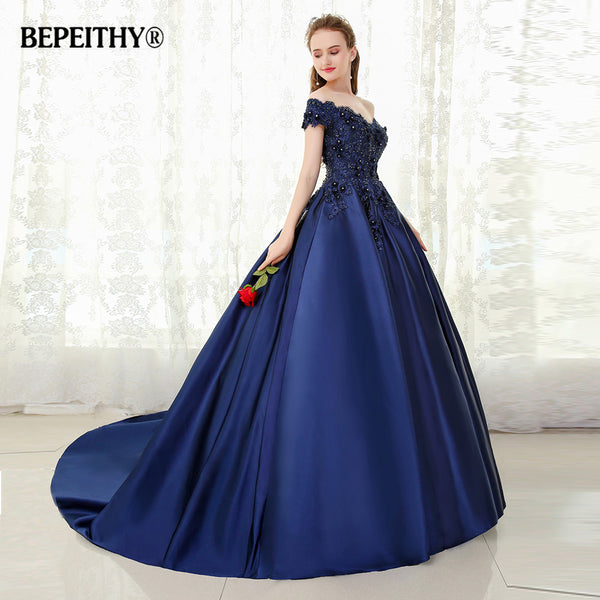 7531838ed0 BEPEITHY V-neck Navy Blue Long Evening Dress Lace Beaded Vintage Prom Gowns  Vestido De Festa Off The Shoulder Cheap Evening Gown