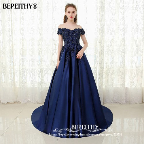 Bepeithy V Neck Navy Blue Long Evening Dress Lace Beaded Vintage Prom