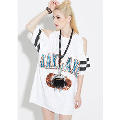 2017 Summer Style Fashion Off Shoulder Women's T-shirts Hip Hop Loose Short Sleeve Long Shirt Sequined Tshirt Poleras Mujer