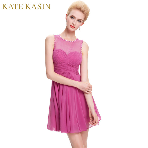 Kate Kasin Junior Girls Bridesmaid Dresses Pink Lace See Through Back Wedding Prom Dress Summer Mini Bridesmaid Dress 2018 0069