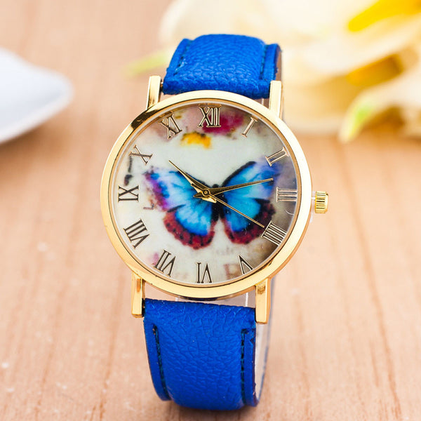 Watches Womens 2017 Butterfly Style PU Leather Band Analog Quartz Wrist Watch For Women relogio feminino Montre Femme #527