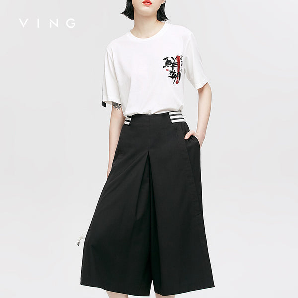 VING Capris Pants 2017 Summer Wommen Contrast Color Steamship Loose  Wide Leg Trouser