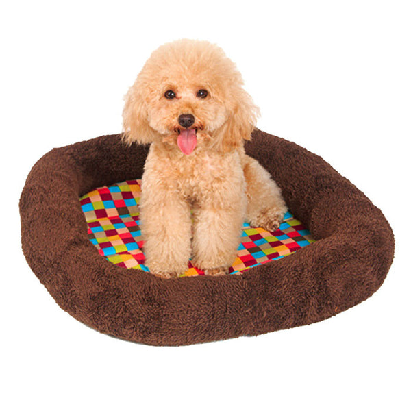2016 Lovely Plush Ring Cushion Vibrant Colorful Squares Pet Nest Pet Bed Kennel Dog Bed products for dogs