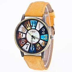 Fashion Watch Women 2017 Graffiti Pattern pu Leather Band Analog Quartz Vogue Wrist Watches For Women Montre Femme relogios #523