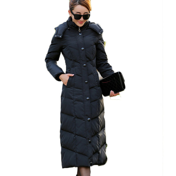 ee54a7f69 HIJKLNL padded winter down jacket for women white duck down coat 2017 long  puffer coat silm thicker down parkas hooded LZ351