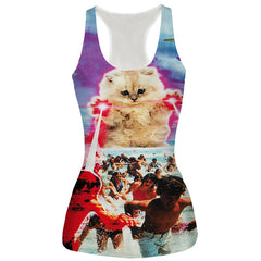 New Sexy Bustier Summer Tight  Animals Vest Cat T Shirts Women Tops 3D Vest Sleeveless Top Tees Lions/Tiger/Cat Poleras De Mujer