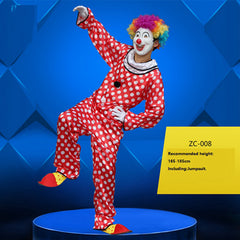 Holiday Variety Funny Clown Costumes Christmas Adult Woman Man Joker Costume Cosplay Party Dress Up Clown Clothes Suit Costume