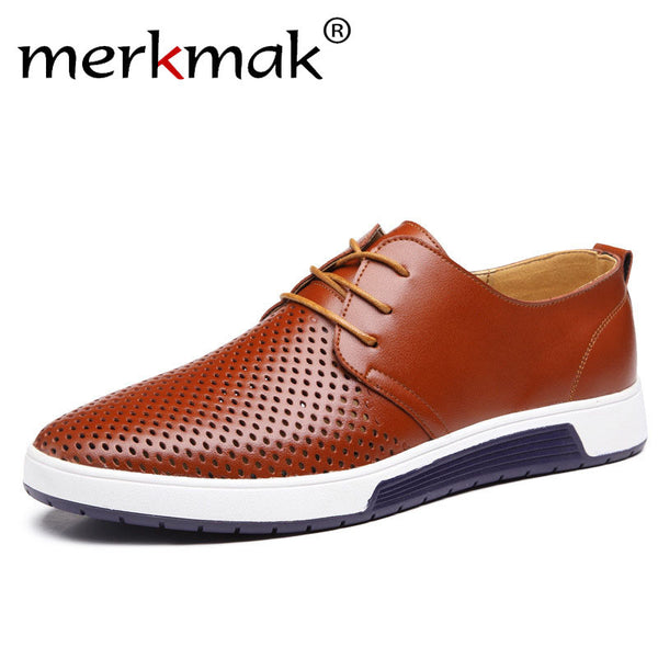 Merkmak Leisure Genuine Leather Men's Holes Shoes Summer Breathable Shoes Business Big Size 37-48 Men Flats Sapatos Masculinos