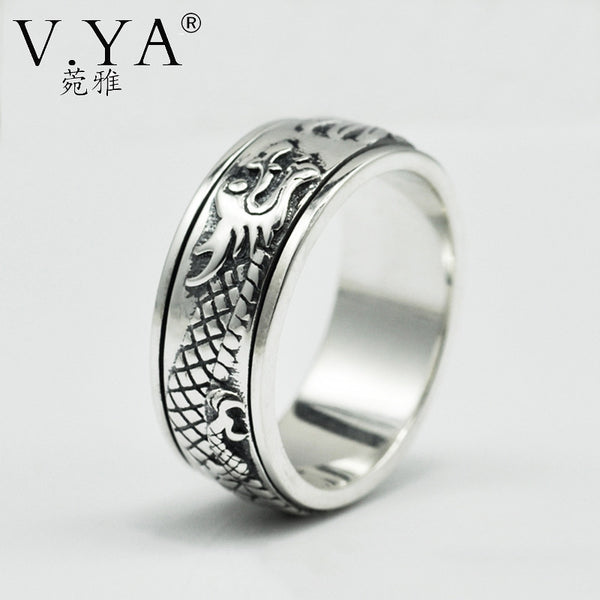 V.YA 925 Sterling Silver Dragon Rings for Men Big Size 13 Punk Retro Thai Silver Rotatable Rings for Women Black Punk Jewelry