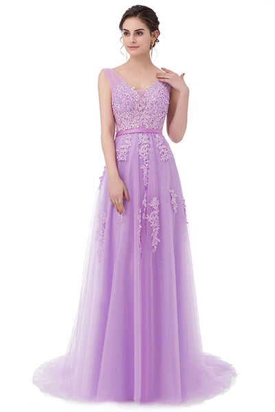 Ssyfashion Lace Appliques V Neck Long Evening Dress The Bride Sexy Sle