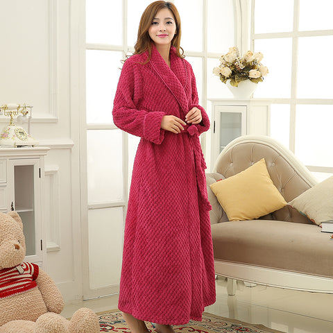 Hot Sale Womens Thick Waffle Long Kimono Bath Robe Women Plus Size Bathrobe  Femme Winter Dressing 626e5fa8f