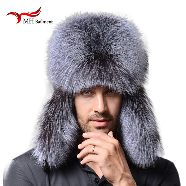 Men winter fur hat genuine leather bomer fur hat for men ear protect raccoon fur cap thick warm good quality winter hat M#1