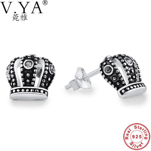 V.YA Authentic 100% 925 Sterling Silver Royal Crown Stud Earrings Vintage Clear CZ With Compatible with Jewelry Charms Drop Ship