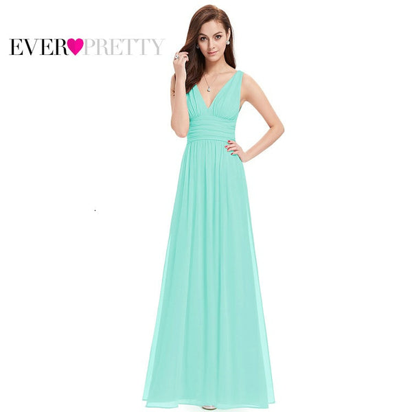 Evening Dresses Ever Pretty EP09016 Vestido Long Elegant Dresses Sweep Train Empire Rushed Double V-neck Evening Dress