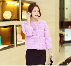 New Rabbit Fur Ladies Short Paragraph Small Coat Ladies Wholesale Jacket Solid Color Women Slim Warm Coat Three Quarter Sleeve