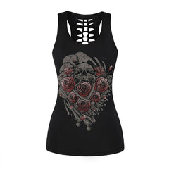 New Summer Style Women Fitness Tank Tops Back Hollow Out 3D Crow Skull Printed Sleeveless Shirts Vest Tops  Sporting Clothing
