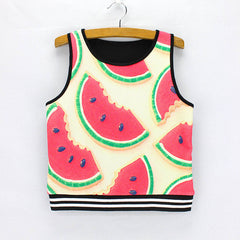 Novelty watermelon printing ladies summer dresses Vogue women cropped tank tops 2016 fashion design girls crop tees wholesale