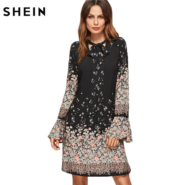 49b908423a SHEIN Korean Women Clothing Floral Print Dresses Women Spring Black Ti