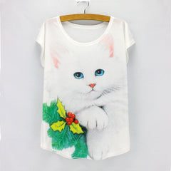Real 3D cute Cat print t shirt women 2016 fashion novelty summer tees short sleeve O-neck girls top tees wholesale