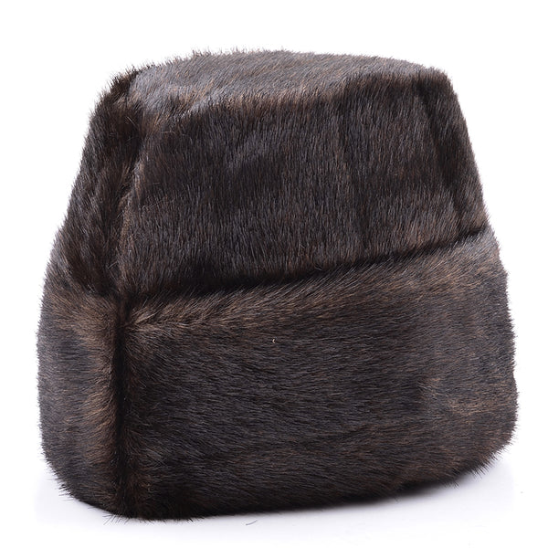 Male Autumn Solid Thicken Bomber Hats Man Winter Imitation Fur Caps Men Warm Protection Ear Cap Size:56cm-59cm