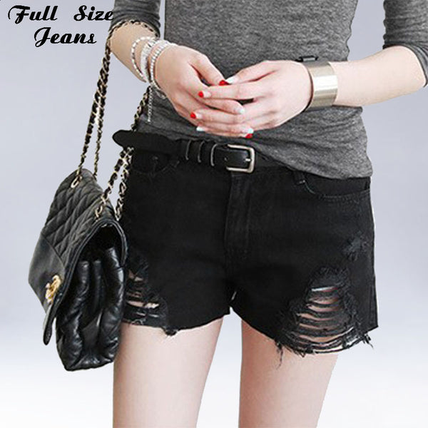 size 40 sleek cheap for discount Plus Size Black Denim Shorts 4Xl Xl 5Xl Sexy Women Summer Hole Destroy