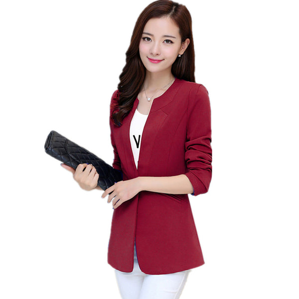 Autumn Women Blazer 7 Colors Coat Elegant Suit Jacket Outwear Long Jac