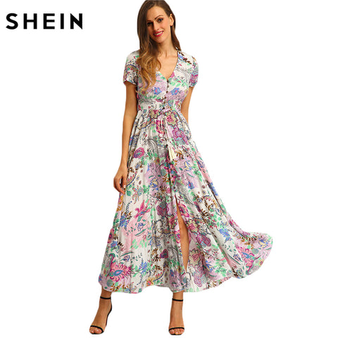 e745cd818e SHEIN Multicolor Floral Print Button Split Front Flare Beach Wear Boho Maxi  Dress Women Short Sleeve