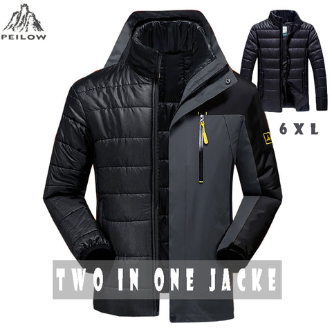b75ab370d83 PEILOW Winter jacket men fashion 2 in 1 outwear thicken warm parka coat  women`s