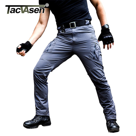 TACVASEN IX9 Men Tactical Pants Waterproof Mens Cargo Pants Summer Quick Drying Pants Army Military Combat Trousers TD-YCXL-036