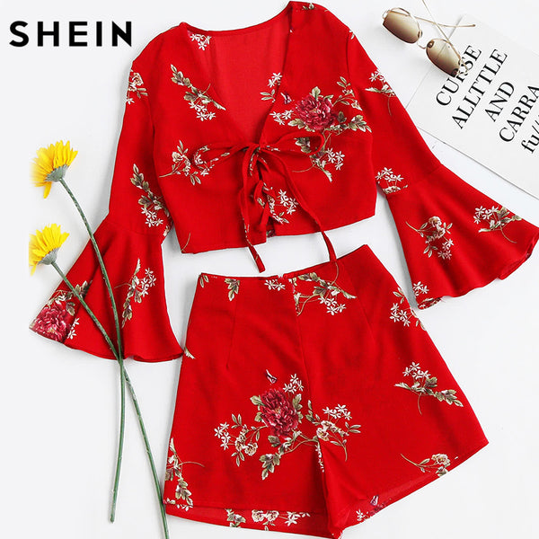 7e7e877c73 SHEIN Womens Sets Two Piece 2017 Red Floral Falre Sleeve V Neck Lace U