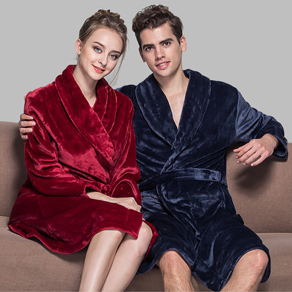 Hot Selling Lovers Soft as Silk Winter Warm Bathrobe Men Long Kimono B