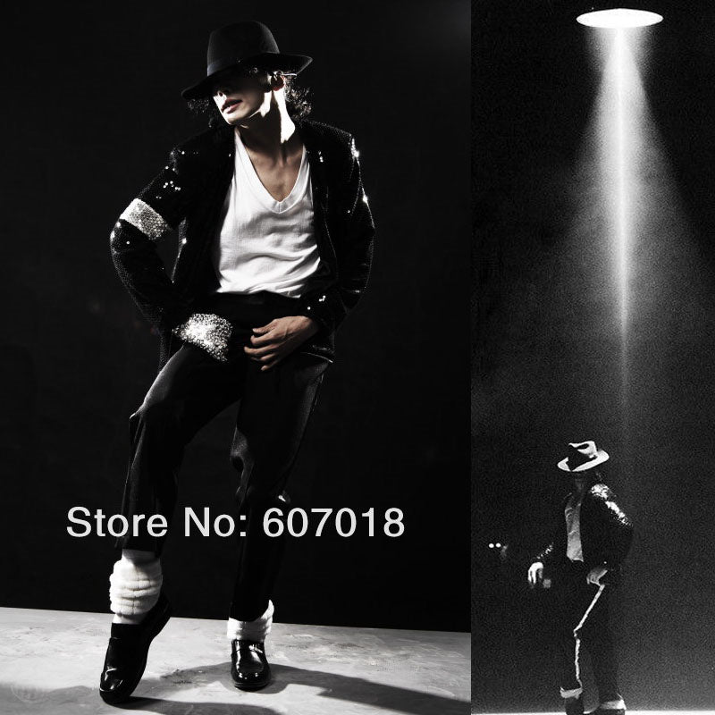 8f9650596 Rare Classic MJ Cosplay Michael Jackson BILLIE JEAN Jacket SEQUINED COOL  FULL SET Costume For Performance