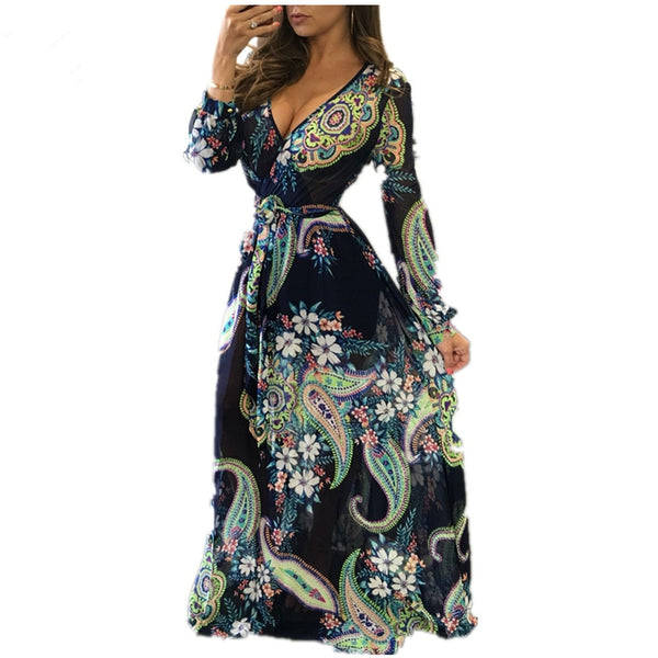 f07732820fe0a New Boho Women Maxi Dresses Navy V Neck Long Sleeve Fashion Elegant With  Button Floral Long Giraffe Printing Party Dress