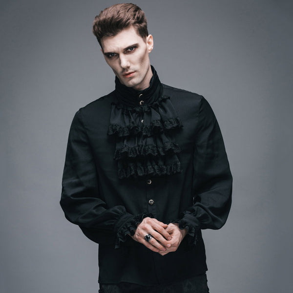 Product Image Devil Fashion Victorian Mens Gothic Flounce Tie Shirt Punk Black White Tuxedo Shirts With Lace Cuffs