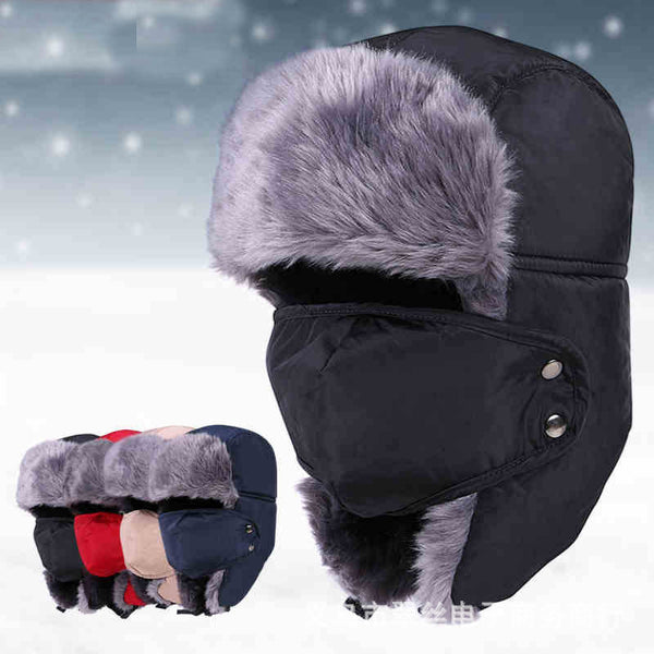 2017Winter Hat Bomber Hats For Men Women Outdoor Thickening Cotton Fur Winter Earflap Keep Warm Snow Caps Russian Ski Bomber Hat