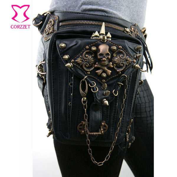 Black PU Leather Skull & Rivet Punk Rock Leg Thigh Holster Waist Bag Women/Men Gothic Steampunk Corset Crossbody Shoulder Bag