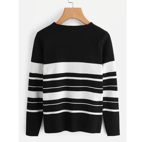 3a6dadf5c71 Fashion Pullover Sweatshirt 2017 Autumn Women Black White Color Striped  Pullpvers O Neck Long Sleeve Blouse