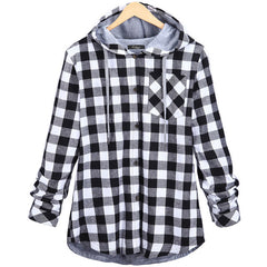 Fashion Women Hoodies Cotton Autumn Winter Coat Long Sleeve Plaid cotton Hoodies Casual button hooded Sweatshirt Oversize 2018