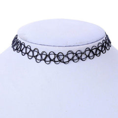 SUSENSTONE Vintage Stretch Stretch Tattoo Choker Necklace Elastic Collar Black Henna Style Necklace Women Summer Fashion Jewelry