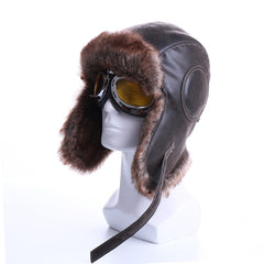 Winter Bomber Hats Plush Earflap Russian Ushanka with Goggles Men Women's Trapper Aviator Pilot Hat Faux Leather Fur Snow Caps