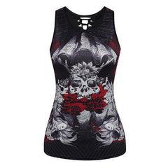 3D Skull Printing Women Tank Tops Sleeveless Hollow Out O Neck Black Vest Female Workout Fitness Top Tees Plus Size Clothing