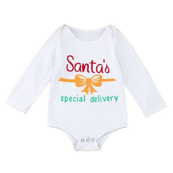 2017 Toddler Baby Christmas Santa Long Sleeve Letter Print Romper Clothes for baby Boys,girls christmas costume gift