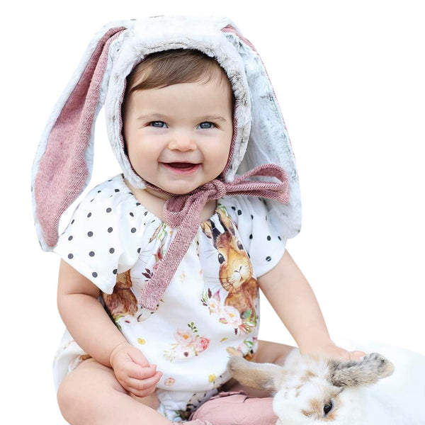2017 Adorbale Kids Baby Girls Bunny Romper Jumpsuit Dots Short Sleeve Lovely Rabbit Print Cartoon Outfits Sunsuit Baby Clothes