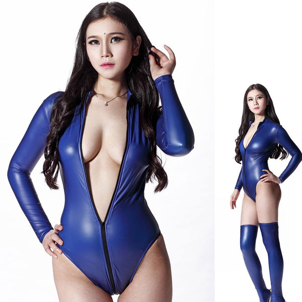 Sexy Women 200D Latex High Cut  Bodysuit Catsuit Thong Body Suits Long Sleeve Moto & Biker Club Wear Bodysuit Dance Wear F116