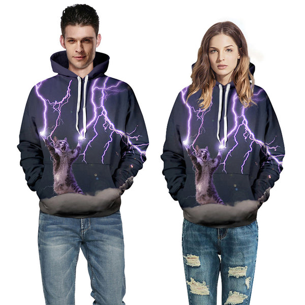 Couple Hoodies Men/Women 3D Printed Cat Lightning Sweatshirt With Hat 2017 Autumn Winter New Arrival Fashion Casual Tracksuit